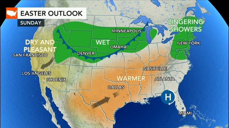 Rain to spread across North Central states, Northeast on Easter Sunday