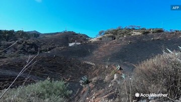 Hills scorched after wildfire rages through more than 10,000 acres