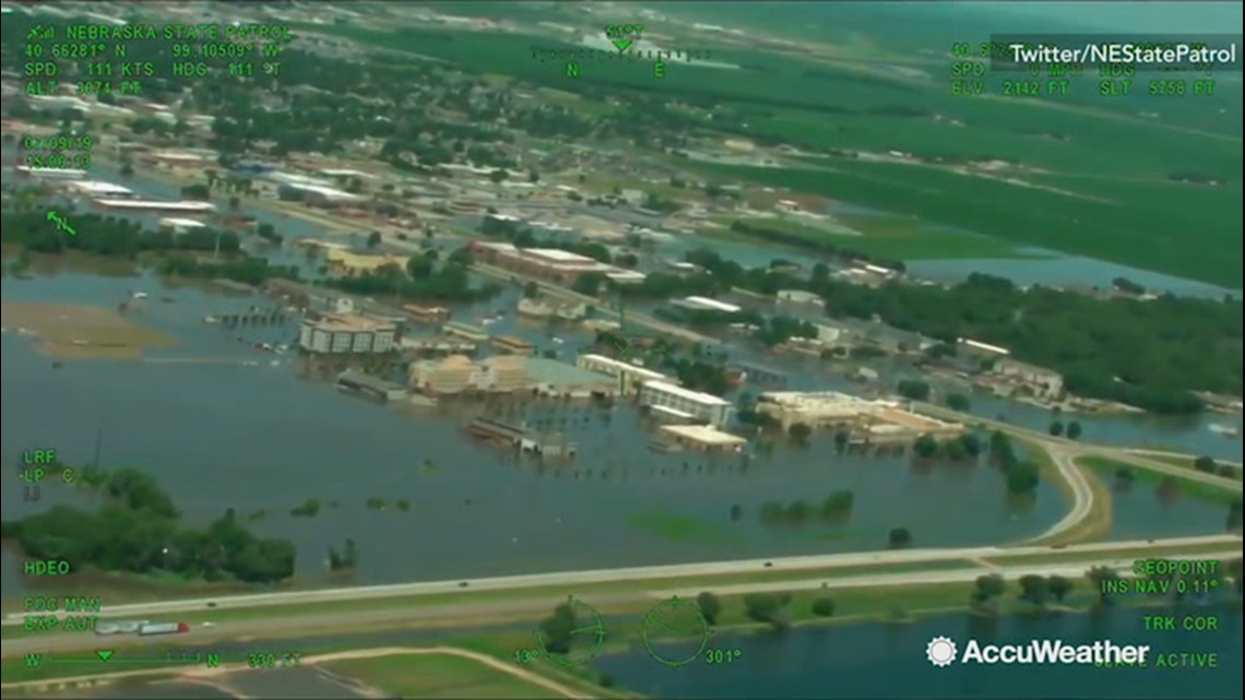 Bird's eye view of flooded city