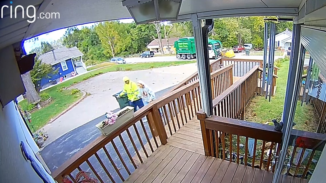 Caught on camera: Sanitation worker puts trash bins away each week for elderly woman after witnessing her fall