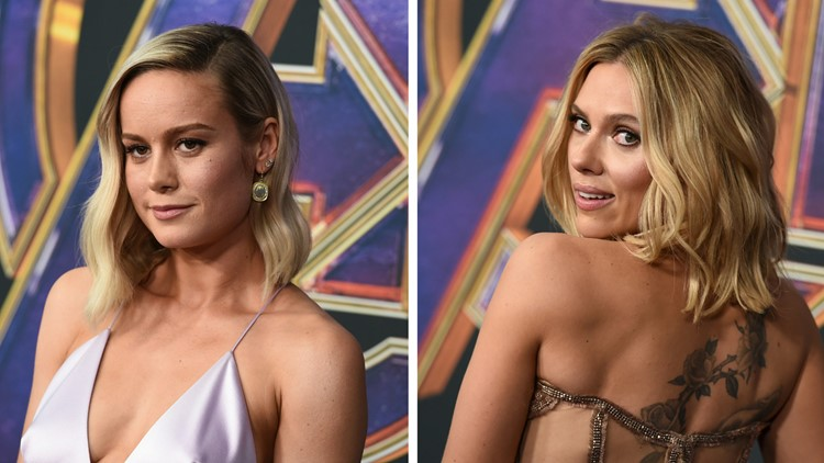 See Brie Larson and Scarlett Johansson's Infinity Gauntlet bling on the red carpet