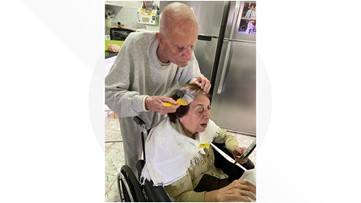 PHOTO: 92-year-old man colors wife's hair so she feels 'well-groomed'