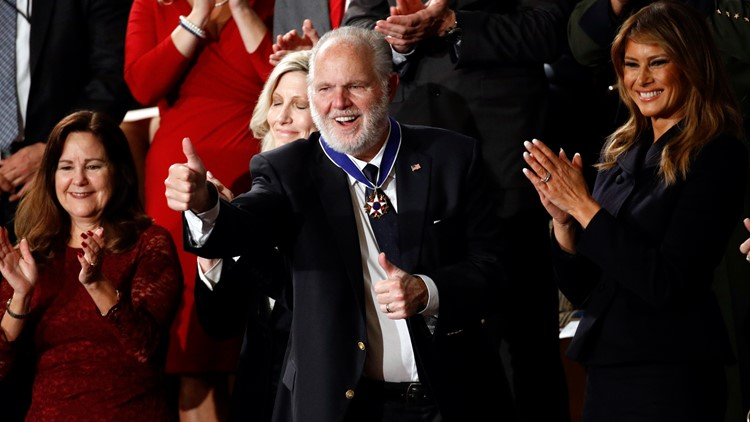 Rush Limbaugh at State of the Union after Presidential Medal of Freedom (AP)