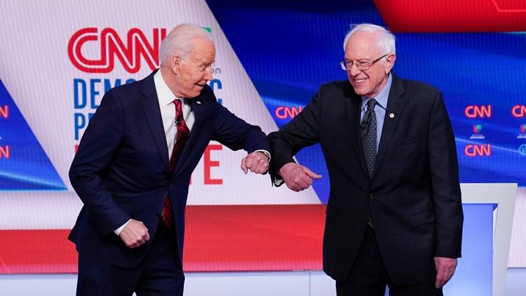 Election 2020 Debate Joe Biden and Bernie Sanders