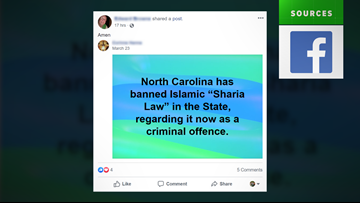 VERIFY: No, North Carolina didn't ban and criminalize Sharia law
