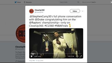 Steph Curry calls Drake to congratulate him on Raptors win