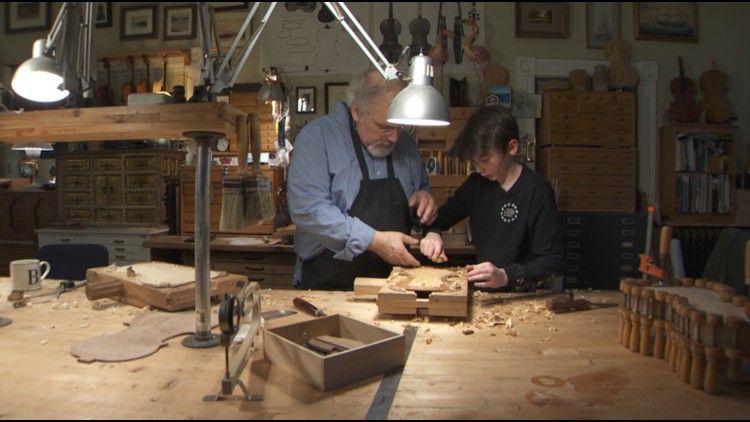 Master violin-maker Will Bartruff teaches his craft to 13-year-old Ben Milne