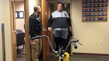 Man with autism stunned when community buys him a new bike
