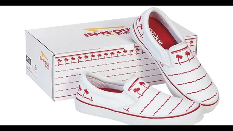 """In-N-Out released their collection of adult and kid sized """"Drink Cup"""" slip-on shoes on Tuesday."""