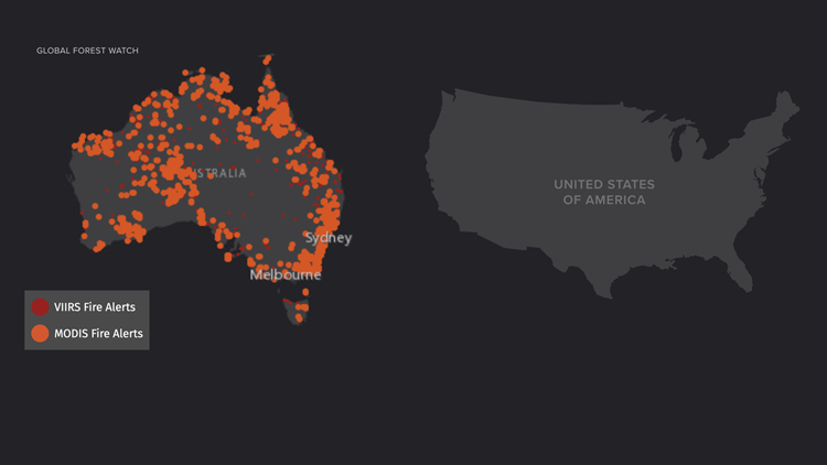 Australia fires compared to USA