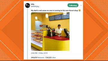 'My dad is sad' tweet goes viral, causing Texas donut shop to sell out