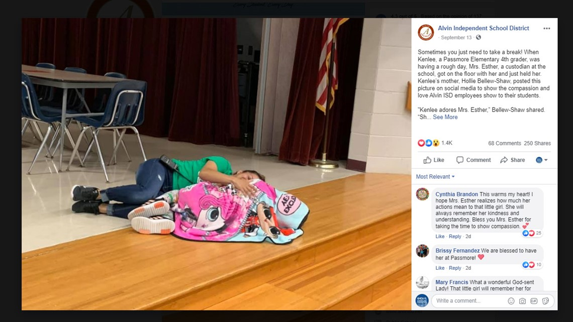 Photo of Alvin ISD custodian comforting fourth-grader goes viral