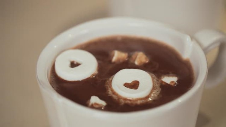 Peanut Butter Hot Chocolate with Heart Shaped Marshmallows