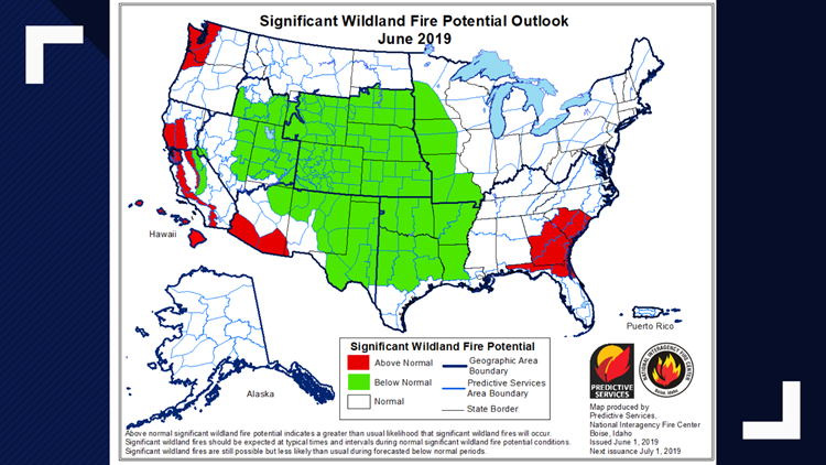 NIFC Fire Forecast map for June 2019