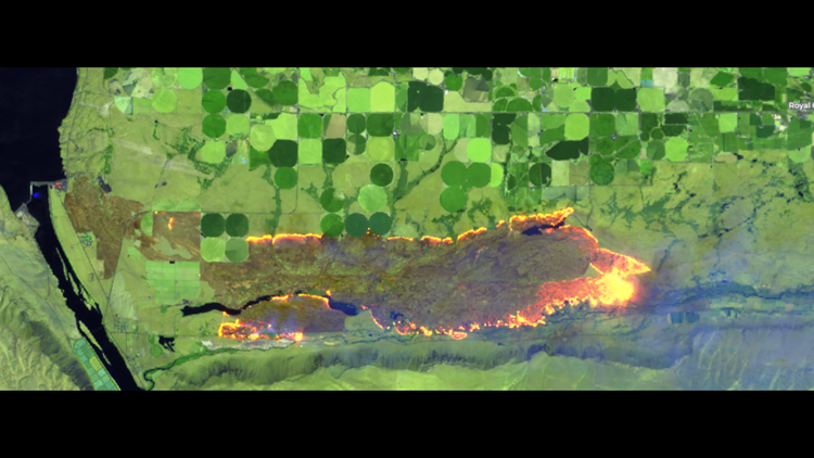 A satellite image of the 243 Fire on Tuesday, June 5.
