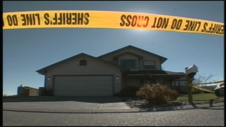 Crime tape outside of the Blagg house in a quiet Mesa County subdivision.