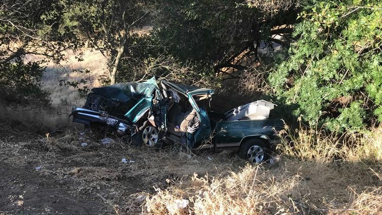 Pickup truck goes over Sunrise Bridge in Rancho Cordova