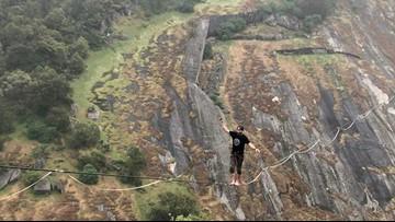 Folsom man prepares to break world record slacklining at Rainbow Bridge