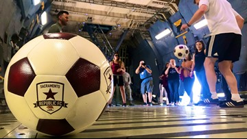 Soccer & Service: Sacramento Republic FC visits Travis Air Force Base for pickup game with airmen