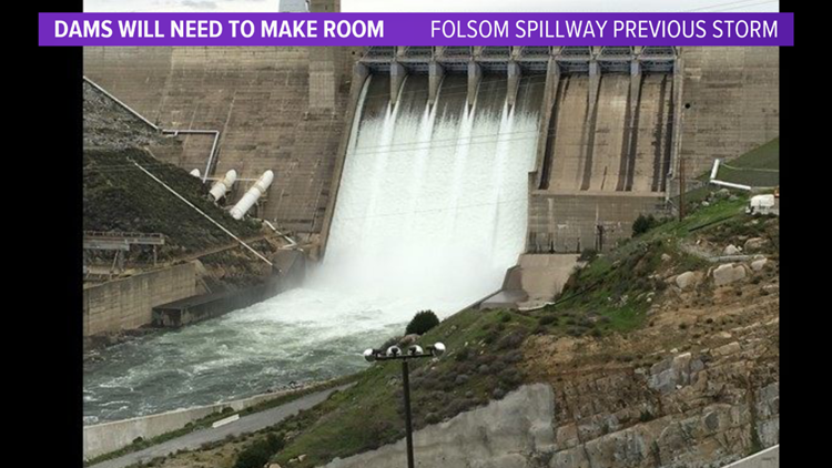 Water release from a previous storm at Folsom Dam in 2016