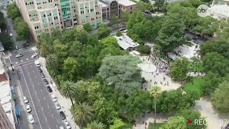 Crowd gathers in downtown Sacramento to protest the killing of George Floyd | Drone view
