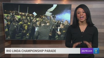 Parade in Rio Linda celebrates football team's state championship win