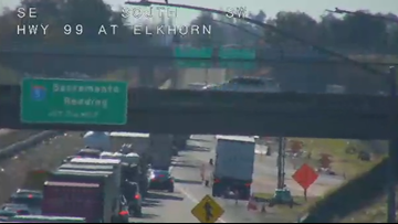 Road Advisory: Canned peaches, overturned big rig close SB