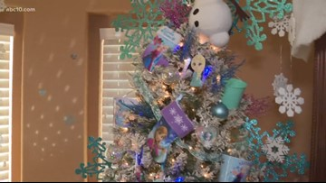 Family puts up dozens of Christmas trees for a good holiday cause