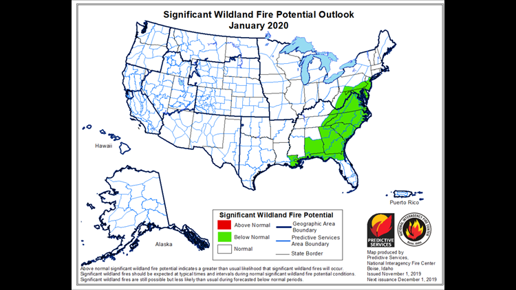 Wildfire Potential for January 2020