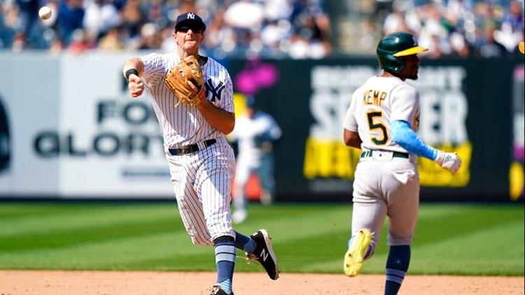 Yankees turn game-ending triple-play, beat A's 2-1