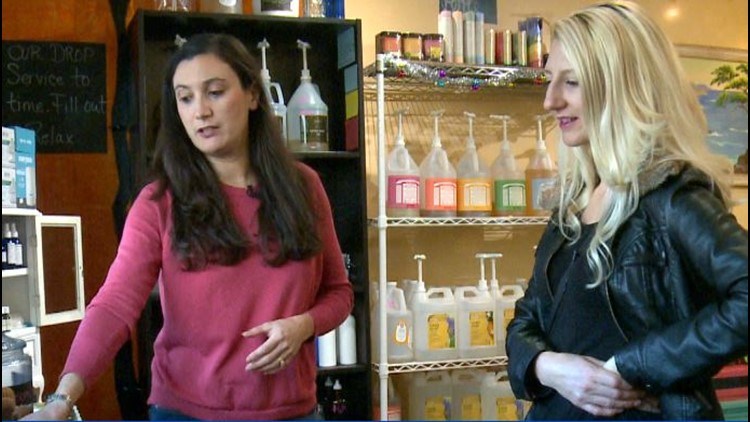 Sloane Read of Refill Madness shows ABC10 guest host Shannon Davis around the shop.