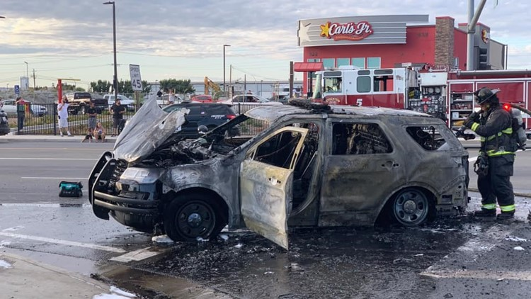 Police car catches fire following chase in Stockton