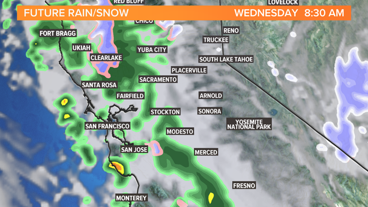 Christmas rain moving in during morning hours