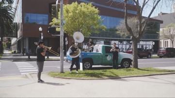 Jazz band plays in Midtown Sacramento to lift spirits during coronavirus pandemic