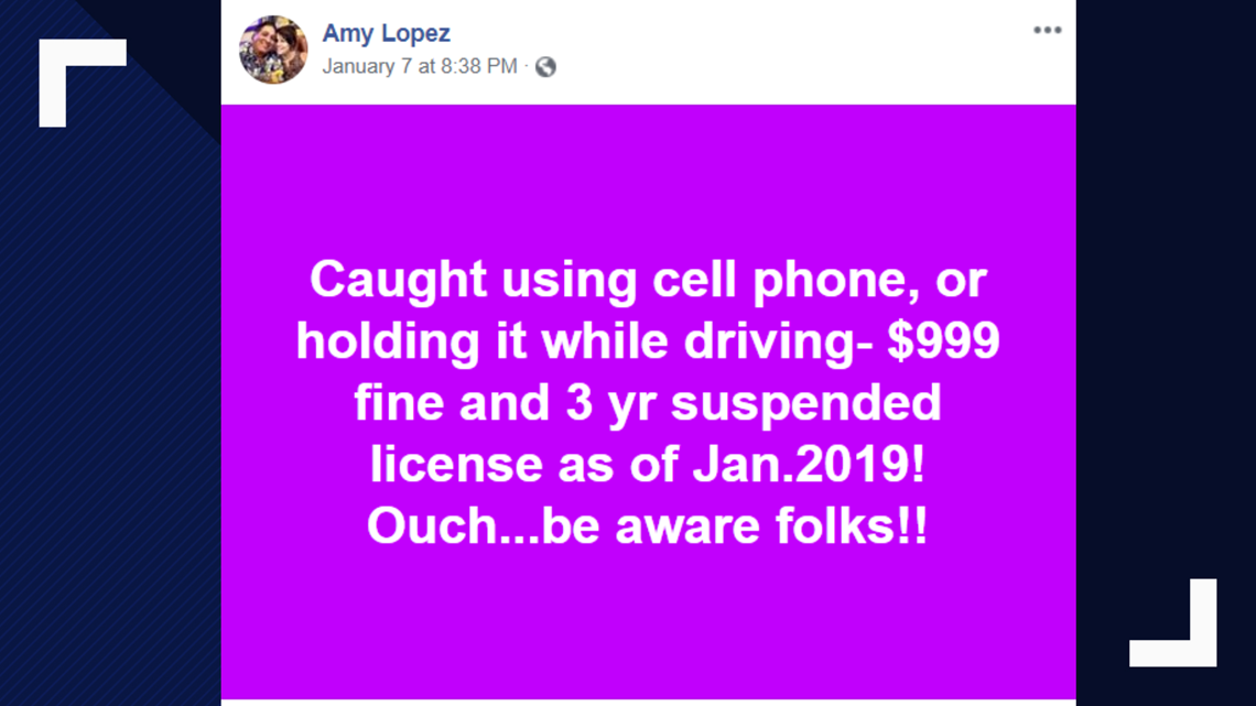 VERIFY: $999 fine and 3-year suspension for distracted driving