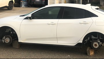 Wheels stripped from five cars in Elk Grove in two nights, left propped by bricks