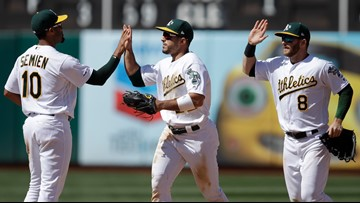 A's win 8th straight game, hand Mariners to 5th straight loss