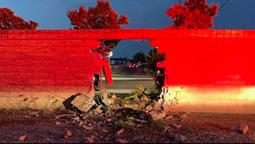 16-year-old driver severely injured after crashing through masonry wall in Manteca