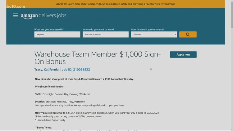 Amazon is hiring locally with up to $1,000 in sign-on bonuses