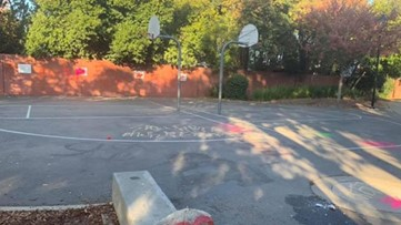Racial, homophobic slurs spray painted on basketball courts at Roseville park