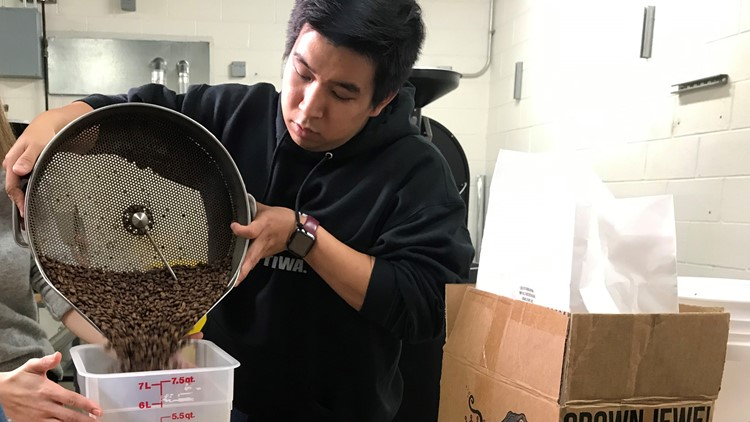 Weighing coffee beans