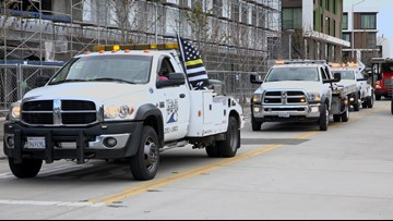 Tow truck procession honors Roselyn and Shalvinesh Sharma