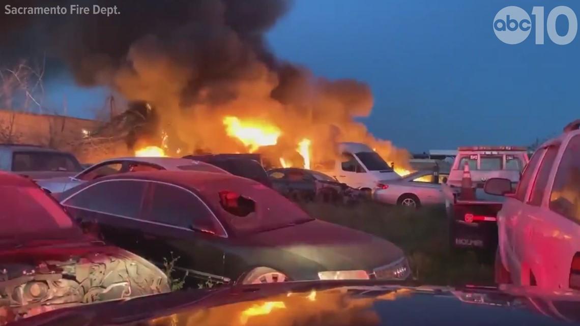 Multiple cars on fire at Sacramento tow yard