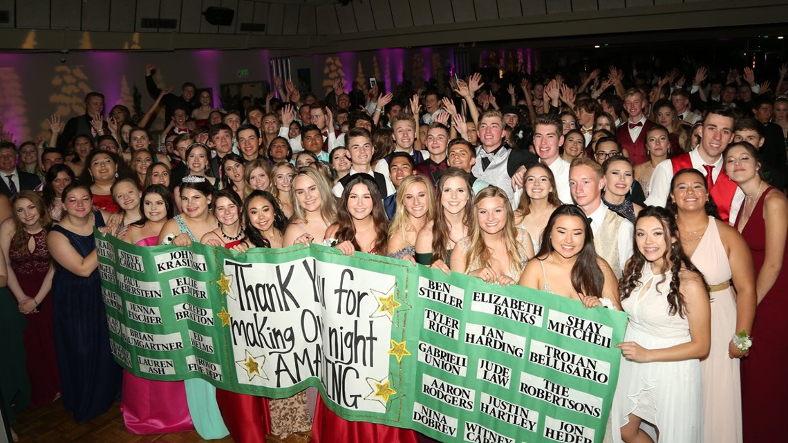 Watch as Dozens of celebrities surprise Paradise High School students during prom with video message