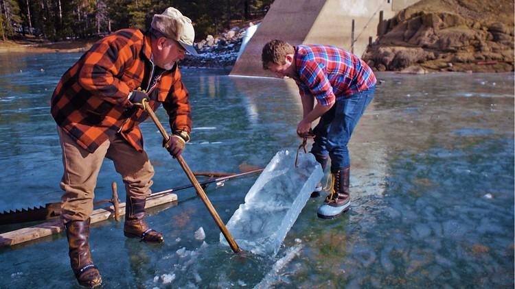 Ice harvesting on Davis Lake