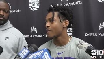 Sacramento Kings PG De'Aaron Fox discusses recent ankle injury