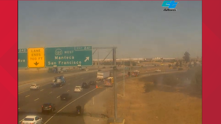 Large fire reported next to Highway 99 in Manteca appears to be mostly extinguished   Update