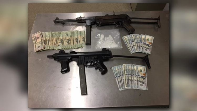 Probation officers arrested a 42-year-old Sacramento man after discovering two fully automatic sub machine guns, 55 grams of methamphetamine, and $3,800 in cash during a home compliance sweep.