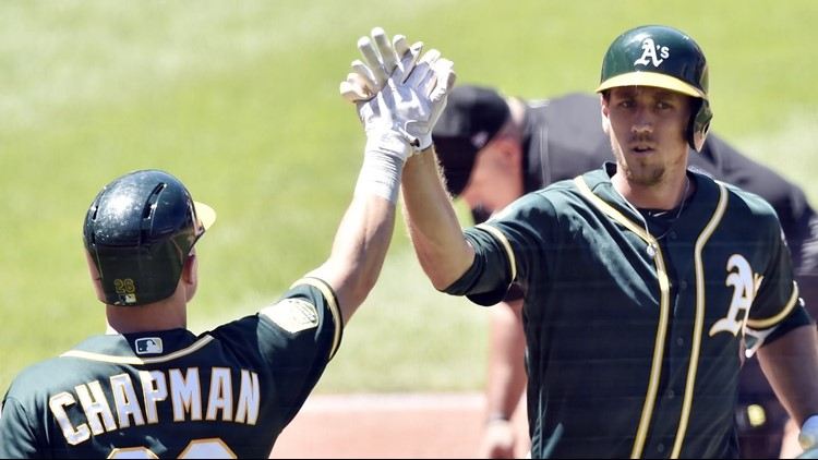 Stephen Piscotty hit a two-run homer off rookie Shane Bieber (4-1), and Jed Lowrie had a solo shot as Oakland won for the 10th time in 12 games to take two of three from the Indians.