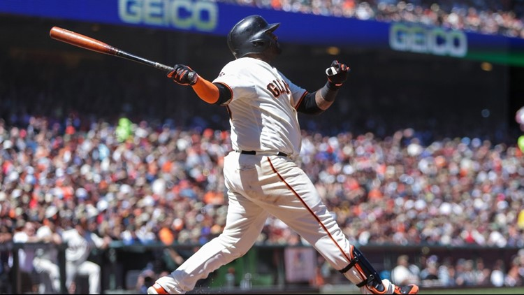 Pablo Sandoval homered and had five RBIs to back an uneven start by Madison Bumgarner as the Giants beat the St. Louis Cardinals 13-8 on Sunday.